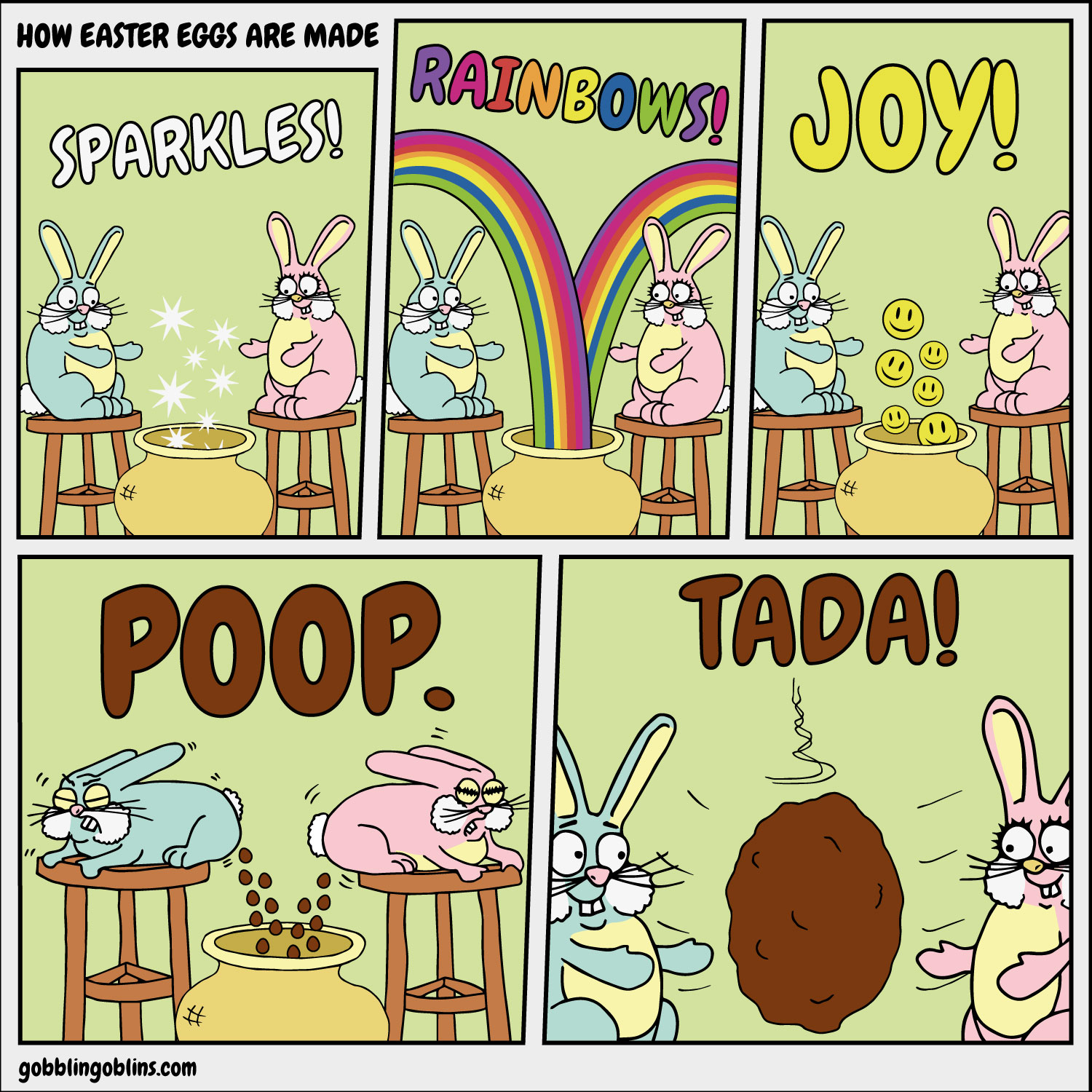 How Easter Eggs Are Made - a comic by Gobblin' Goblins