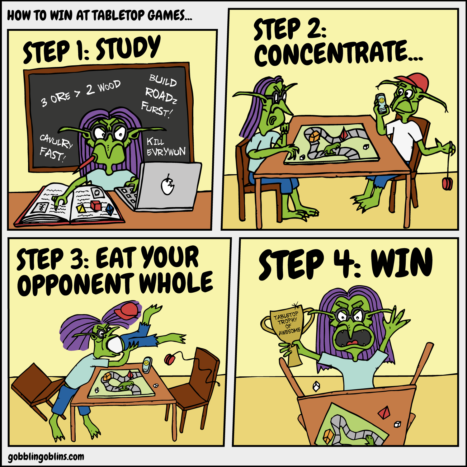 How To Win At Tabletop Games - a comic by Gobblin' Goblins